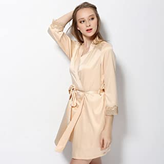 d1c5037d83 GJM Shop Sexy Female Summer Polyester Bathrobe Extreme Temptation Nightgown  Relaxed Nightdress Home Clothes (Size