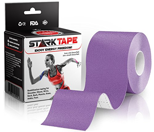 Kinesiology Athletic Tape for Sports - Recovery Knee Taping for Athletes Injuries Therapy, Ankle, Shoulder, Wrist, Plantar Fasciitis. Sticky Waterproof Latex Free Adhesive - Uncut 5 cm x 5 m Purple