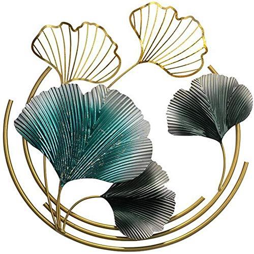 zhouxi Décoration murale 3D en forme de feuille de ginkgo en métal, cadre en métal, décoration murale à suspendre, art décoratif inspiré de la nature, intérieur et extérieur