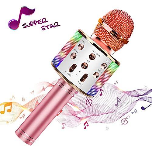 Microfono wireless Karaoke, Altoparlante Bluetooth portatile, Compatibile con smartphone iOS e Android, 4 in 1, luce dance LED a colori, I migliori regali per bambini dai 4 ai 16 anni