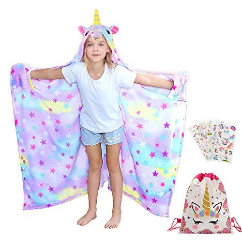 Tacobear Einhorn Decke mit Kapuze Einhorn Bademantel für Kinder Mädchen Flauschige Decke Tragbar Warm Plüsch KapuzeKuscheldecke Bademantel Einhorn Geschenk für Kinder
