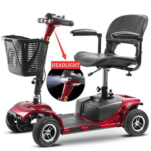 Scooter eléctrico de 4 Ruedas/Scooter electrónico de Viaje Asiento Giratorio Plegable Adecuado para Personas Mayores/discapacitados con 2 baterías de Litio Puede soportar 100 kg Red