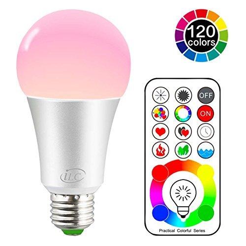 iLC LED Farbige Leuchtmittel,70W äquivalente, RGBW Lampe Edison Farbige Leuchtmitte Farbwechsel Lampen - 120 Farben RGBW - 10 Watt E27 Fassung LED Birnen - Kabellos Fernbedienung inklusive