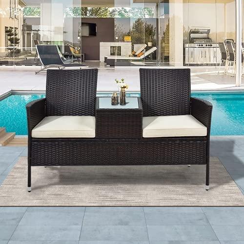 Qewrt Gartensofa Garten Möbel Gartenbank Garden Furniture Cushions Lounge Sofa Garden Set Garden Sofa Centre Sofa Corner Sofa it Tisch 2 Sitzer Loveseat inkl. 5cm Auflagen Braun