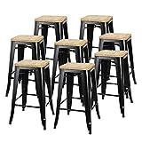 ZENY Set of 8 Metal Bar Stools 26' Counter Height with Wooden Seat Stackable Indoor/Outdoor Barstools, 330 lbs Capacity