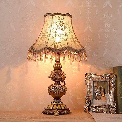 Lámpara de mesa Lámpara de sombra de ara?a de borla de flor de color marrón dorado retro nacional lámpara de mesa lámpara de noche de resina verde lámpara de iluminación de lámpara de cuerpo