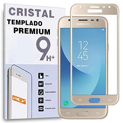 REY Protector de Pantalla Curvo para Samsung Galaxy J3 2017, Oro, Cristal Vidrio Templado Premium, 3D / 4D / 5D
