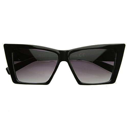 4589afc15c High Pointed Cat Eye Sunglasses Sharp Geometric Square Frame Cateyes (Black)