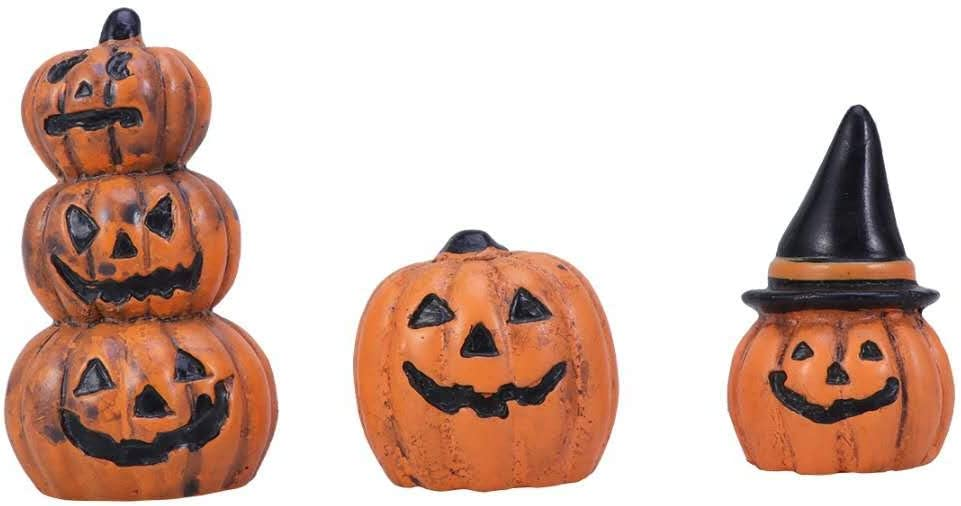 SENTOP 3pcs Halloween Pumpkin Miniature Figurine, Halloween Fairy Garden Miniature Pumpkin Figurine Decorations, Halloween Pumpkins Decoration Halloween Party Favors Gifts Bag Fillers