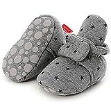 Unisex Newborn Baby Cotton Cozy Fleece Booties Non-Slip Sole for Toddler Boys Girls Infant Winter Warm Fleece Socks First Walker Crib Shoes (B-Star Grey, 6-12 months)