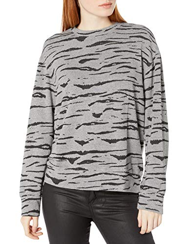 Monrow Women's Dark Heather Tiger Boyfriend Sweatshirt, X-Small