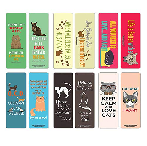 Creanoso Cat Themed Bookmark Cards (12-Pack) – Premium Quality Set – Inspiring Cat Sayings for Men, Women, Adults, Cat Lovers, Cat Owners – Six Bulk Assorted Bookmarks Designs