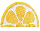 Baby Playtime Cozy Lemon Cute Fruits Half Round Shaped Bedroom Bathroom Doorway Kitchen Floor Rug Carpet Water Absorption Non-Slip mat for Kid's Room (Yellow, 40x60CM)