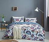 CoutureBridal Bohemian Bettwäsche 135×200cm Vintage Boho Böhmisch Bettbezug Mandala Microfaser Blau Bunt Blumen Wendebettwäsche Reißverschluss und 1 Kissenbezug 80×80cm