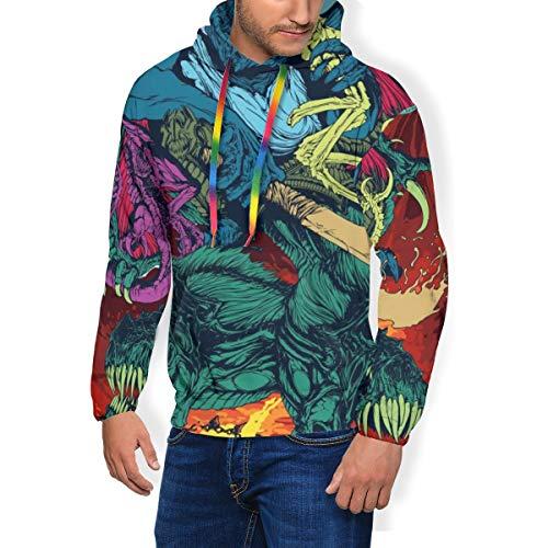 Sudadera con capucha para hombre con diseño de calavera y mito de dragón