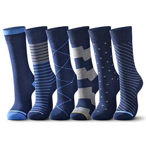 raku. Socken Herren Business 6 Paar Classic Atmungsaktive Baumwolle Komfortbund, Ideal für Business Freizeit Arbeitssocken Anzug (Blau, 43-46)