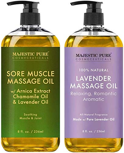 Majestic Pure Lavender Massage Oil and Sore Muscle Massage Oil Bundle - Relaxation Package - 8 fl oz Each