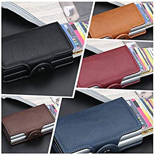 Extaum Fashion Men Anti RFID Double Layers Credit Card Holder PU Leather Metal ID Card Case Aluminum Card Protection Male ...