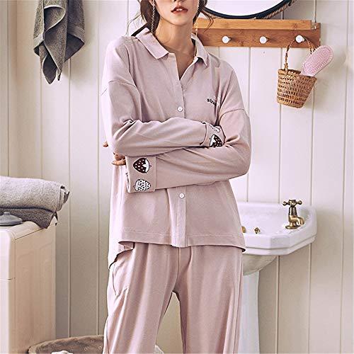 Nachtwäsche Damen Schlafanzug Kurz Pyjama Sleepwear Sets Zweiteilige Negligee,Baumwollpyjama XL mit Langen Ärmeln A-2 XXXL