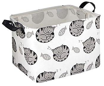 HIYAGON Rectangular Storage Boxes,Fabric Storage Bin Organizer,Collapsible Storage Basket for Toy Clothes,Books.Shelves Basket  Fish & cats