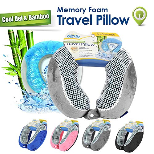 Cloudz Cool Gel Memory Foam Travel Neck Pillow - Grey