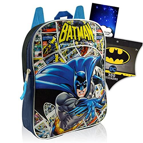 DC Comics Batman MINI Backpack Preschool Bundle ~ Batman School Supplies And 11 INCH School Bag With 300 Batman Stickers (Superhero School Supplies).