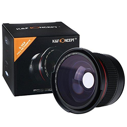 K&F Concept® - Objetivo Súper Gran Angular, 58MM Fisheye Ultra Claro con Azul Recubiertos con Película Objetivo Macro para Canon Nikon DSLR Cámaras + Paño de Limpieza
