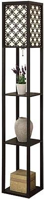 クリエイティブ棚フロアランプ本棚ベッドサイドテーブルライトソファリモートベッドルームベッドサイドランプ調光制御のホテルのベッドルームデコレーション簡単にクリーン デコレーションライト (Color : Black)