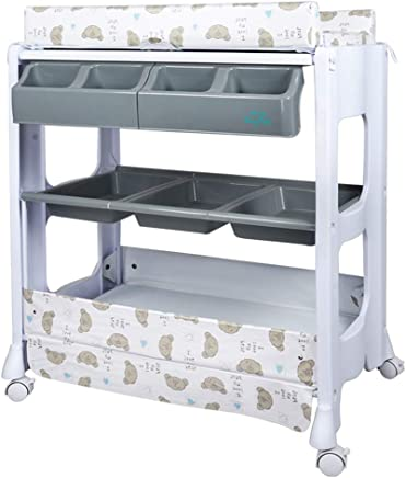 ZAQI Baby Changing Table Dresser With Bath Tub And Wheels  Girl Boy Storage Station For Bathroom  Color Style-4