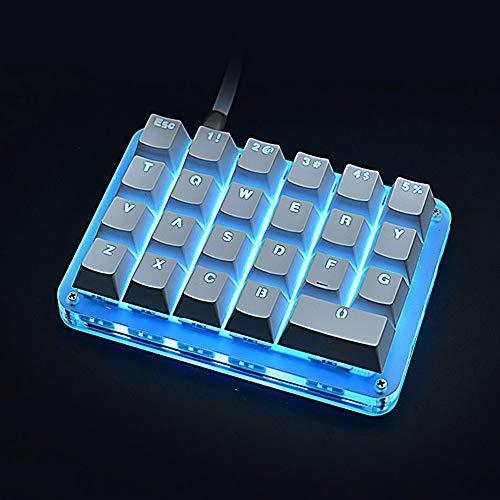 23 Keys One Hand Use Mechanical Keyboard for Gaming Drawing USB RGB Custom Macro Programming Keyboard Windows (Colorfu Llight, Red Switch) Arizona