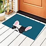 Hipster Frenchie - Felpudo de PVC con gafas para entrada de bulldog francés con base antideslizante e impermeable, alfombrillas para puerta al aire libre, cocina, baño, interior 40 x 60 cm