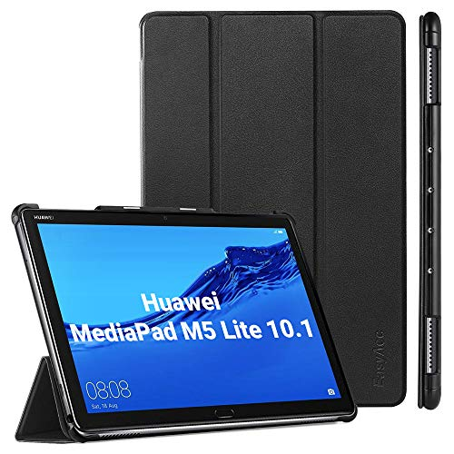 EasyAcc Cover Custodia per Huawei MediaPad M5 Lite 10 2018, Ultra Sottile Smart Cover Case in Pelle con Sonno/Sveglia la Funzione Compatibile per Huawei MediaPad M5 Lite 10 2018 - Nero