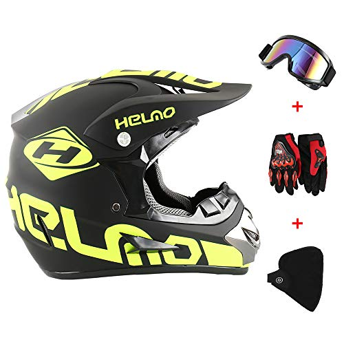 New_Soul 4pcs Cascos de Motocros Casco de Cross Adulto Fantastic FS945 con Gafas Protectoras Guantes Mask (amarillo)