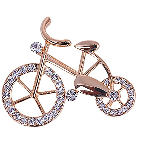 xinying Broche de 1 pieza de elegancia con diamantes de imitación de oro en forma de bicicleta para hombres y mujeres, unisex, para regalo de joyería (color oro)