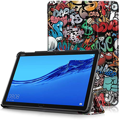 """Huawei Mediapad M5 Lite 10 Cover, Custodia Ultra Sottile e Leggero con Coperture da Supporto e Funzione Auto Sveglia/Sonno per Huawei Mediapad M5 Lite 10 WIFI/LTE Display da 10.1"""", Graffiti"""