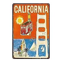 カリフォルニア メタルポスタレトロなポスタ安全標識壁パネル ティンサイン注意看板壁掛けプレート警告サイン絵図ショップ食料品ショッピングモールパーキングバークラブカフェレストラントイレ公共の場ギフト