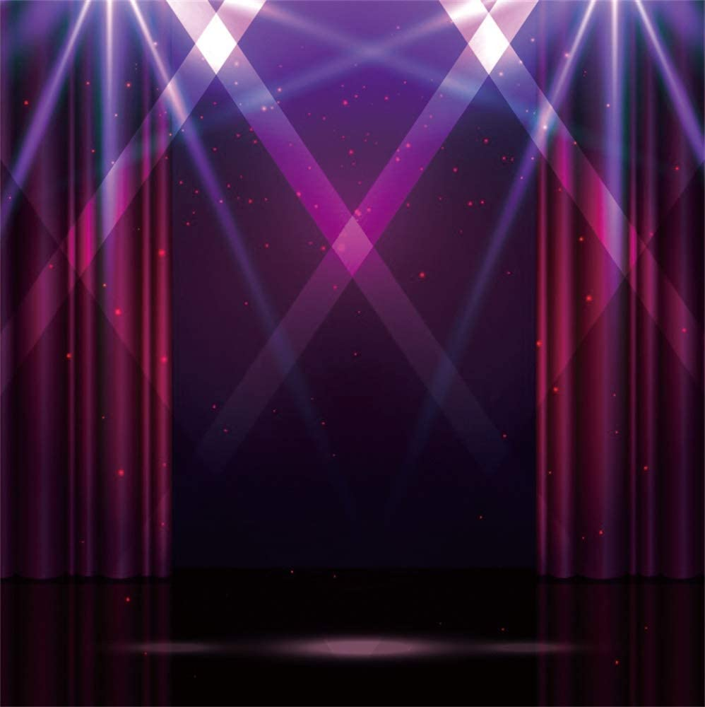 Leowefowa Opened Chic Curtain Stage Backdrop 10x10ft Vinyl Interlaced Spotlights Light Beams Photography Background Performance Photo Shoot Program Record Event Activities Photo Booth Studio Props
