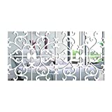 Yusylvia Set of 8PCS Large 3D Decorative Wall Decals for Home, Large Modern Acrylic Mirror, Fixed Living Surface, Fashionable DIY Wall Sticker (Large 25X25CM, Silver)