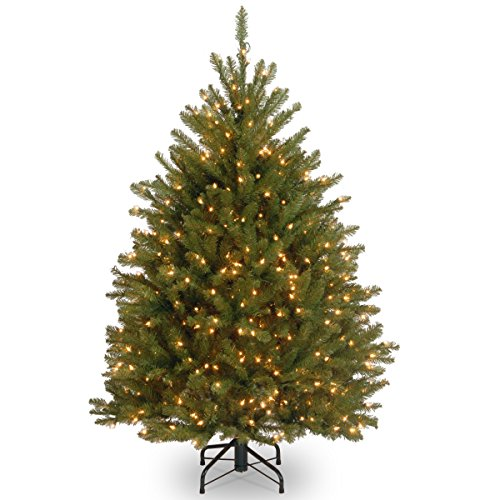 National Tree Company Pre-lit Artificial Christmas Tree  Includes Pre-strung White Lights and Stand   Dunhill Fir - 4 ft