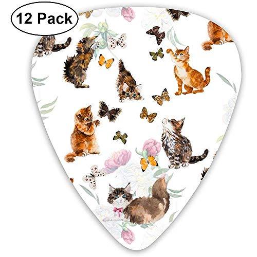 Gitarren-Plektren Cute Cat Kitten Butterfly Sampler Gitarren-Plektren - 12er Pack Enthält dünne, mittlere und schwere Instrumente