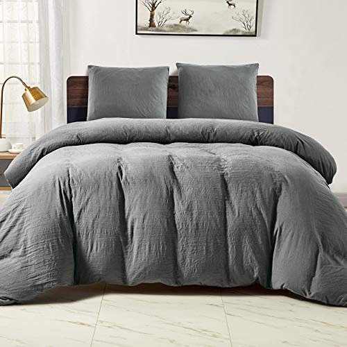 WAVVE Single Duvet Cover Set with Zipper Closure - Grey 2 pcs with 1 pillow case 80x80cm Ultra Soft Washed Microfiber Bedding Quilt Cover Sets, 135x200cm
