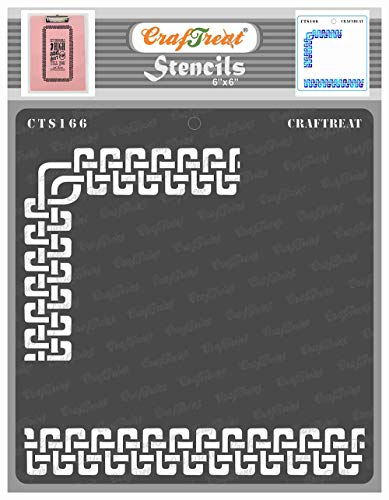 CrafTreat Celtic Border Stencils for Painting on Wood, Canvas, Paper, Fabric, Floor, Wall and Tile - Celtic Borders 2 - 6x6 Inches - Reusable DIY Art and Craft Stencils for Borders - Stencil Celtic