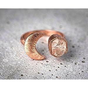 925 Silber/18k rosè v. Ring MOND mit Bergkristall
