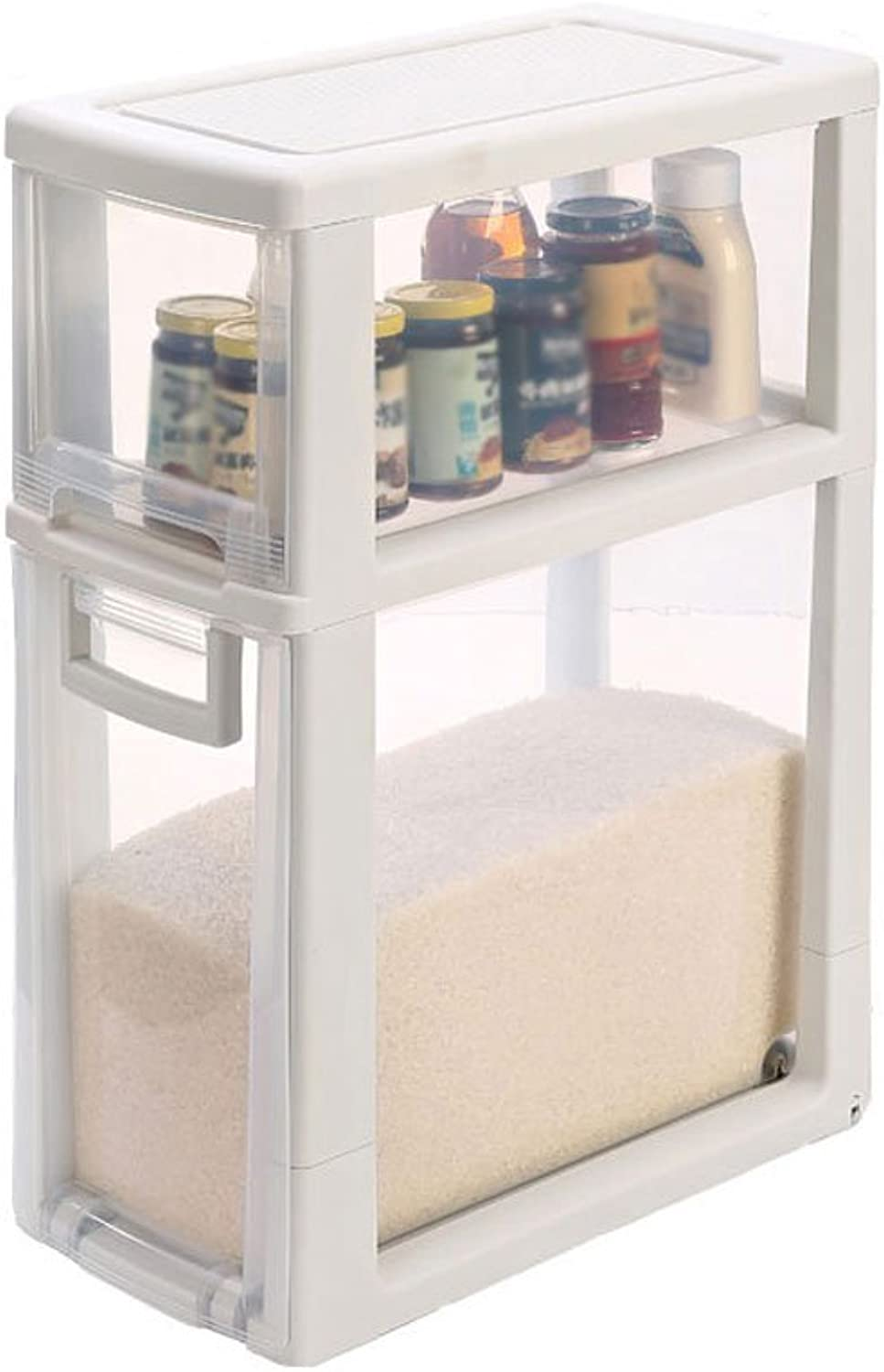 Kitchenware Racks Storage Box 2 Layers 3 Layers 4 Layers Clear Plastic Drawer Kitchen Gap Storage Cabinets Narrow Cabinet Rack Bathroom Rack Medicine Box with Casters W-22cm (Size   2 Layer)