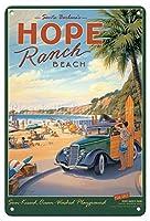ホープランチビーチ-ブリキサインヴィンテージノベルティ面白い鉄の絵の金属板