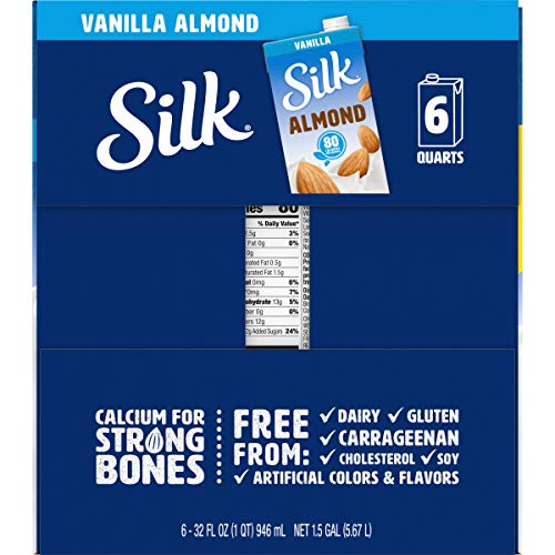 Silk Shelf-Stable Almond Milk, Vanilla, Dairy-Free, Vegan, Non-GMO Project Verified, 1 Quart (Pack of 6)