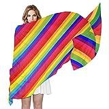 LORONA Bufanda de rayas de arcoíris para mujer, con sensación de seda, ligera, chal