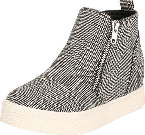 Cambridge Select Women's High Top Side Zip Hidden Wedge Fashion Sneaker,7,Black/White Plaid