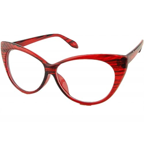 f881d24c1a Clear Lens Women s Fashion Cat Eye Eyeglasses Frame Retro Style Red
