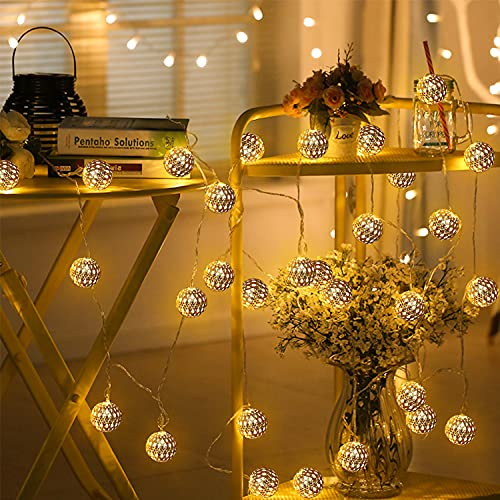 LED Lichterkette Marokkanische,6M 40 LEDs Kugeln Orientalisch Silber Lichterkette,Warmweiß USB/Batteriebetrieben 6M Lichterkette Außen/Innen Deko für Garten,Terrasse,Hof,Zimmer,Party,Festival